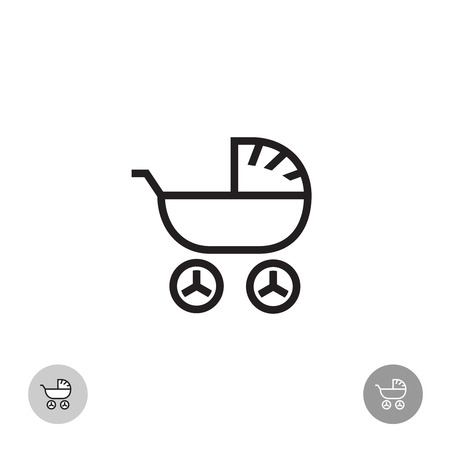 simple logo: Baby carriage simple linear logo Illustration