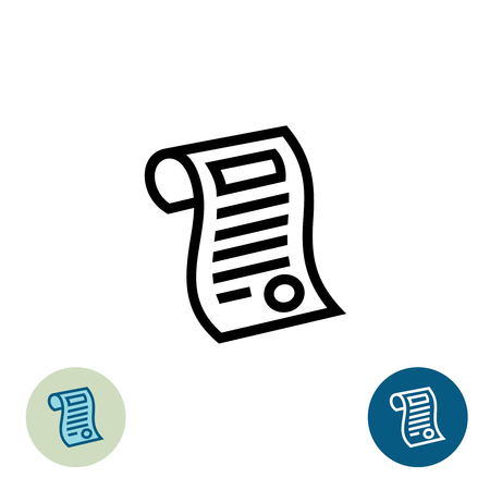 rules: Certificate black outline icon. Graduate document symbol with stamp. Illustration