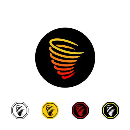tornado wind: Tornado vector logo on black. Warning sign with variations.