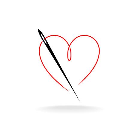 coser: Aguja e hilo en una forma del logotipo simple del vector del corazón