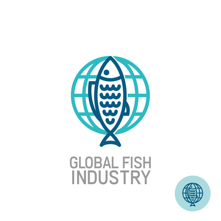mono color: Fish industry universal logo with Earth globe behind. Mono line style. Easy color change. Illustration