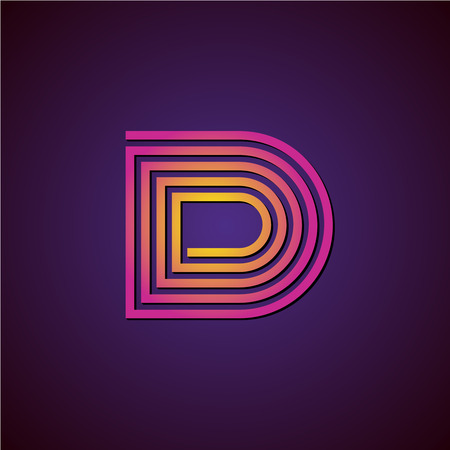 d: Letter D linear luxury . Colorful helix spiral style with shadow.