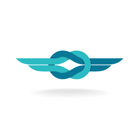 Knot logo. Node symbol with wings. Flat style colors. Illustration