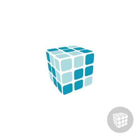 3 d の顔を持つキューブ デジタル ロゴ  イラスト・ベクター素材