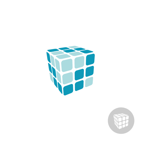 3d cube digital logo with faces