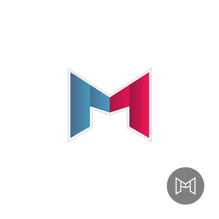 letter m: Letter M colorful ribbons logo Illustration