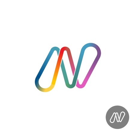 Letter N colorful rainbow ribbon logo
