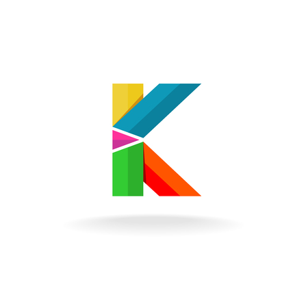 papier a lettre: Lettre K rubans color�s logo Illustration