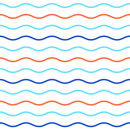 Blue and orange horizontal wavy lines seamless pattern