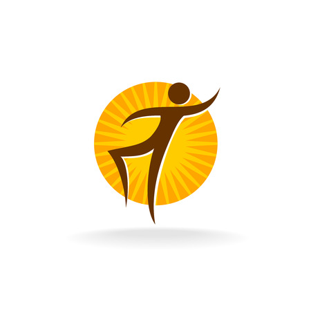 sun tan: Tan figure with sun behind logo