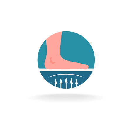 warm up: Flatfoot correction procedures or insole icon. Medical round icon. Illustration