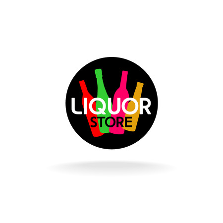 liquors: Liquor store icon. Colorful alcohol bottles in a round black shape with text. Illustration