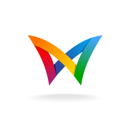 Colorful rainbow ribbons style butterfly icon Vettoriali