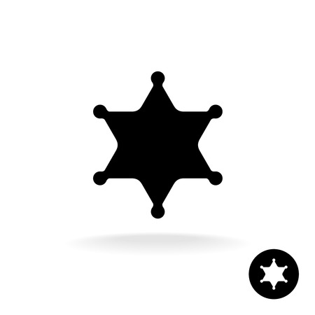 deputy sheriff: Sheriff star black symbol. Simple silhouette of six rays star with round tips.