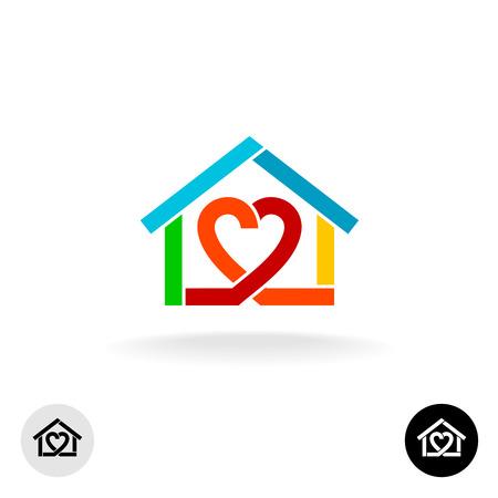 corazones azules: cuidado en el hogar del icono del servicio de limpieza de la idea