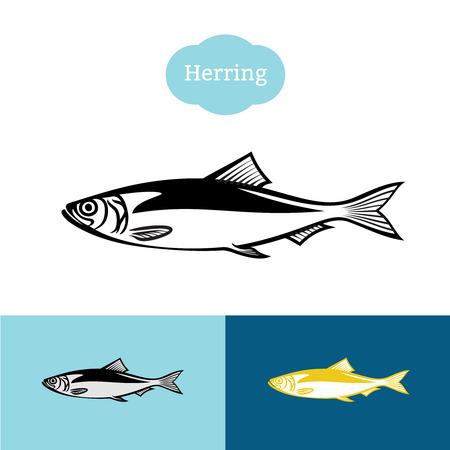 Aringa nero un colore silhouette. Pesce simbolo icona per l'industria alimentare.