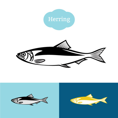 Herring black one color silhouette. Fish symbol icon for food industry.