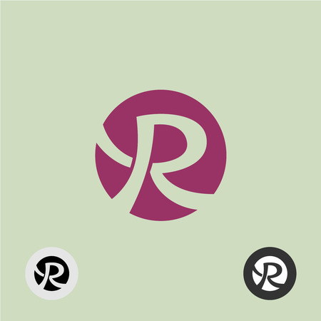 r: Letter R elegant smooth shape icon in a circle Illustration
