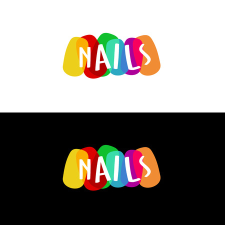 finger nails: Nails colorful icon.Transparency are flattened.