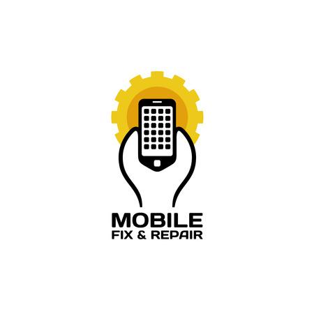 llave de sol: Los teléfonos móviles reparan icono de servicio. Llave inteligente sosteniendo con engranaje de fondo la forma Vectores