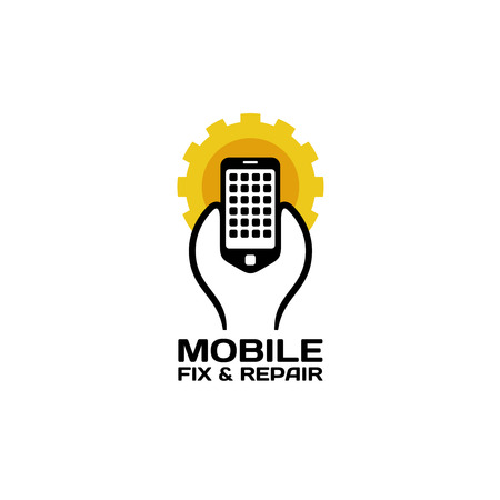 hand holding smart phone: Mobile phones repair service icon. Wrench holding smartphone with sun gear background shape