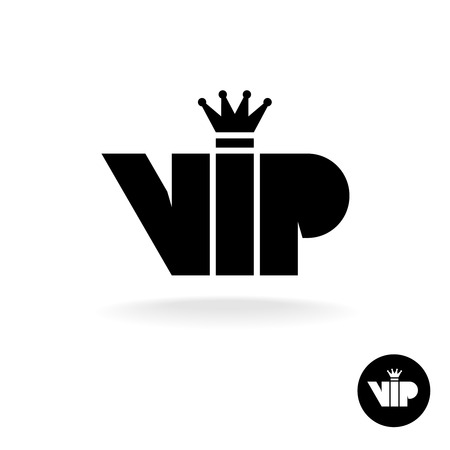 VIP letters abbreviation simple black silhouette icon with crown Illustration