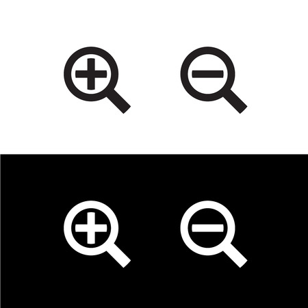 enlarge: Simple black zoom magnify glass plus and minus icons Illustration