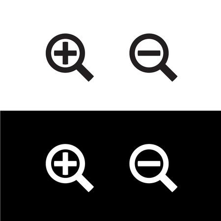 incremento: Zoom negro simple magnificar más vidrio y menos los iconos Vectores