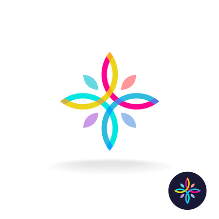 looped: Colorful symmetry flower icon with people hands and heads. Overlay lines style. Transparency are flattened.