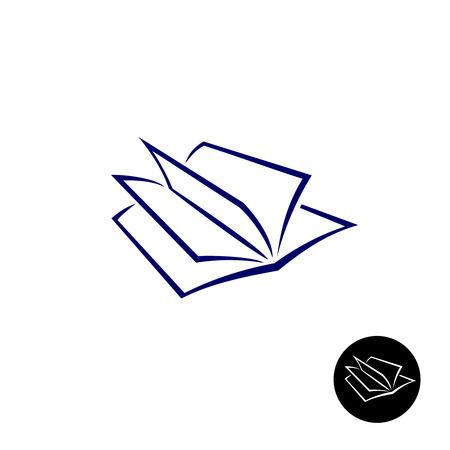 perspectiva lineal: Libro abierto simple icono de estilo elegante de l�neas finas