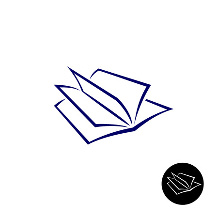 Simple open book thin lines style elegant icon