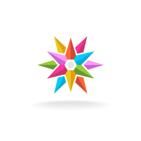 arco iris: Icono colorido estrella agudo. Rainbow s�mbolo explosi�n geom�trica. Vectores