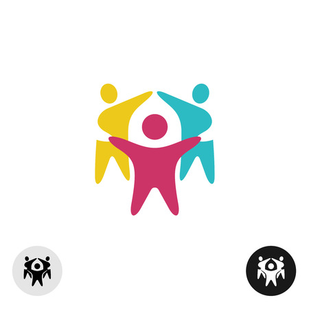 friends together: Three happy motivated people in a round colorful icon