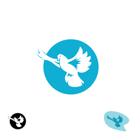 pigeon: Flying dove bird icon. Pigeon silhouette with open wings.