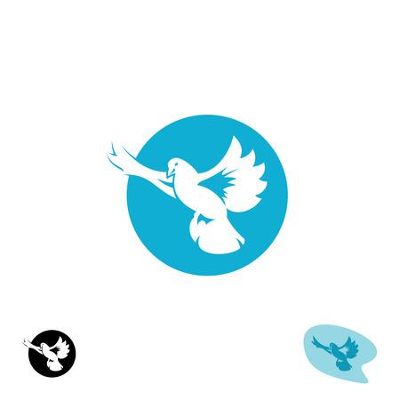 palomas volando: Volar icono del pájaro paloma. Silueta de la paloma con las alas abiertas.