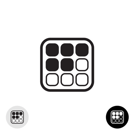 array: 3x3 stickers array grid table black simple icon. Rounded corners style. Illustration
