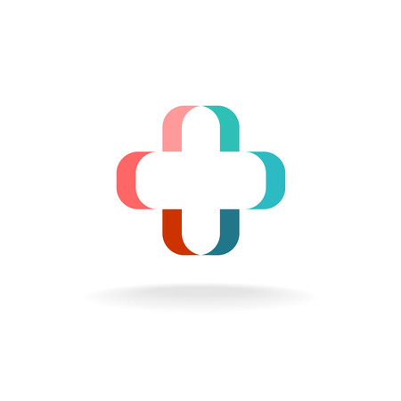 Medicine cross color ribbon shape outline icon