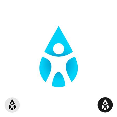 success concept: Man silhouette inside of the drop symbol Illustration