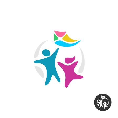 Gelukkige mensen silhouetten met een vlieger. Kids icoon. Stock Illustratie