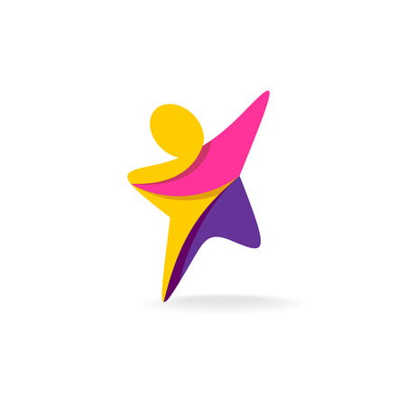 joy: Colorful star shaped man silhouette reaching up icon
