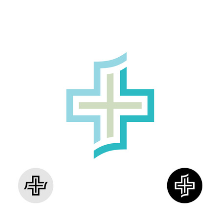 cross: Medical or religion cross symbol icon.
