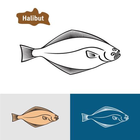 flounder: Halibut fish sumple one color silhouette