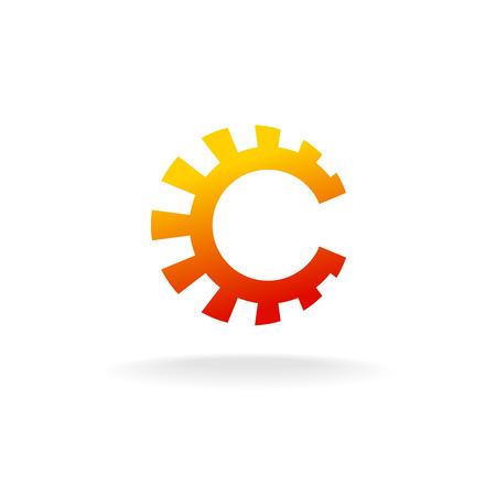 gear symbol: Letter C tech icon. Sun symbol, gear sign.