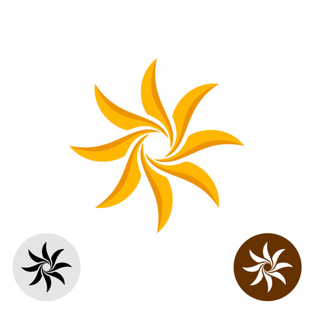 Sun flower: Orange elegante Sonnensymbol. Acht scharfen Klingen. Illustration