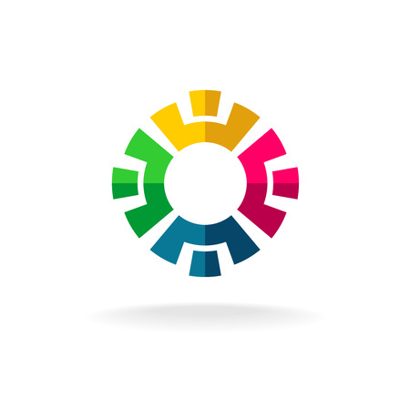 Social network icon concept. Four different people in a circle. Illustration
