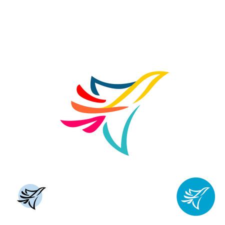 paloma de la paz: icono de la paloma. Resumen líneas de colores estilo de vuelo silueta del pájaro.
