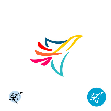 Dove icon. Abstract colorful lines style flying bird silhouette. Illustration