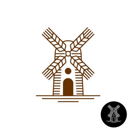 molino: Icono del estilo del molino de viento lineal con barridos Como espigas de trigo