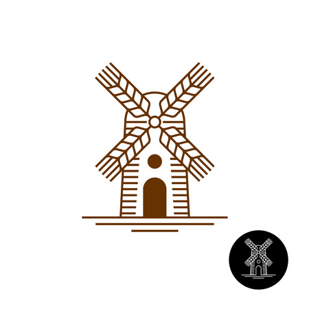 Windmill linear style icon with sweeps as a wheat ears