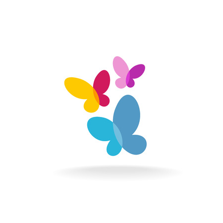 蝶のカラフルな透明なアイコン  イラスト・ベクター素材